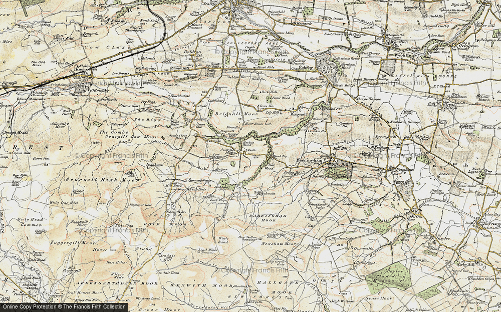 Old Map of Historic Map covering Woodclose Gill in 1903-1904