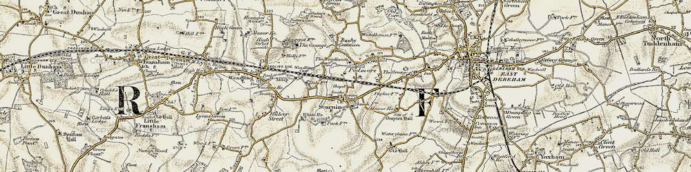 Old map of Scarning in 1901-1902