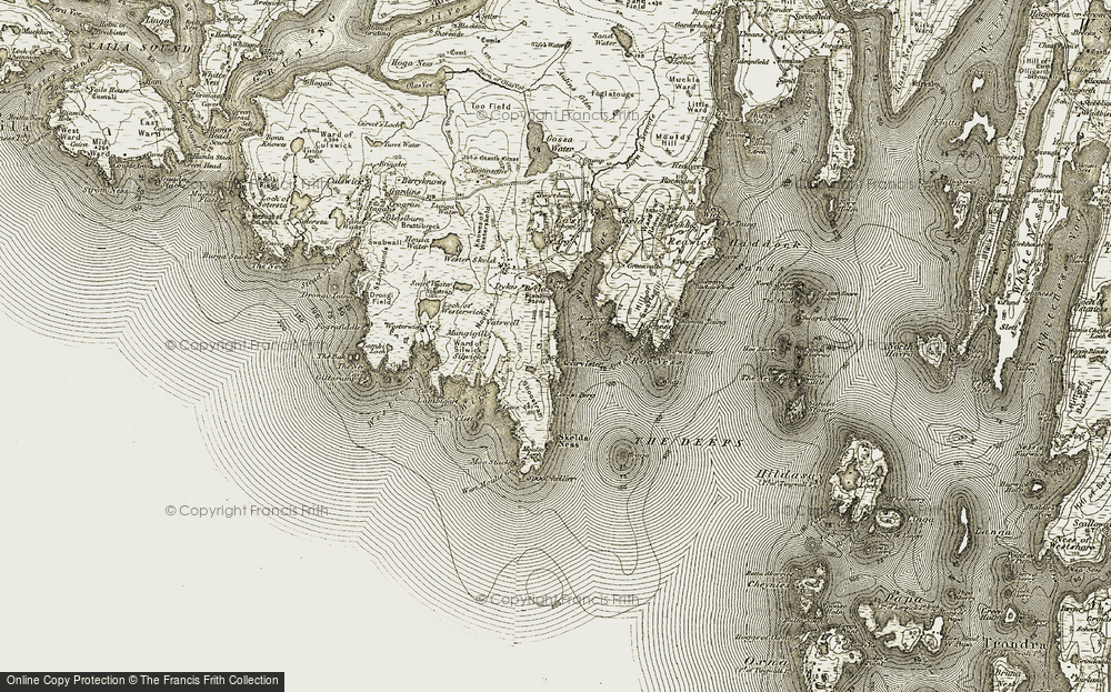 Old Map of Historic Map covering Aa Skerry in 1911-1912