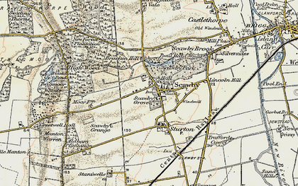 Old map of Scawby in 1903-1908