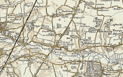 Old map of Scole in 1901-1902