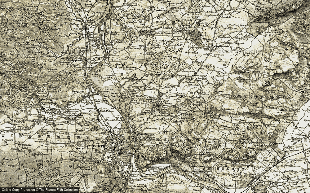 Old Map of Historic Map covering Balgarvie in 1907-1908