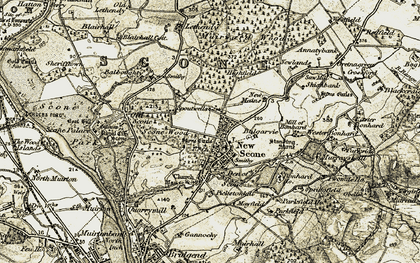Old map of Scone in 1907-1908