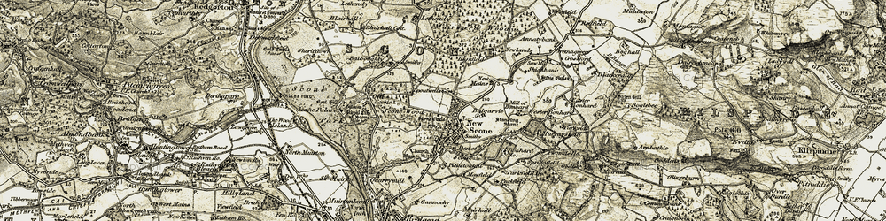 Old map of Wester Bonhard in 1907-1908
