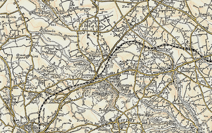 Old map of Scorrier in 1900