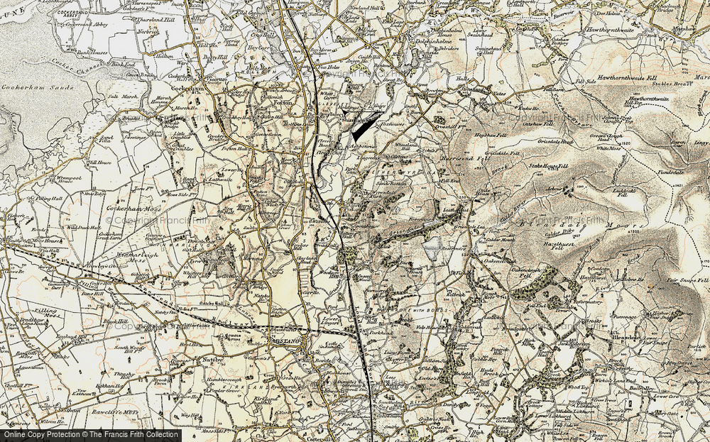 Old Map of Historic Map covering Woodacre Pasture in 1903-1904