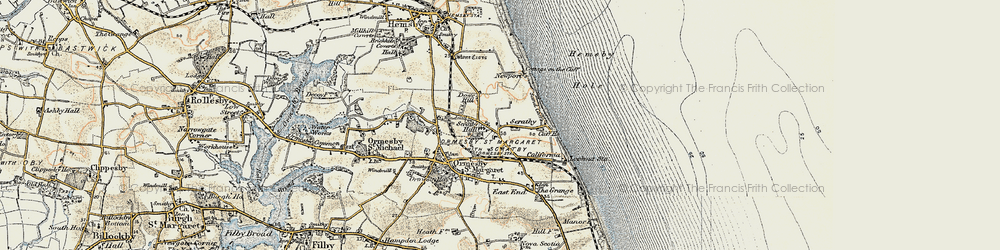 Old map of Scratby in 1901-1902