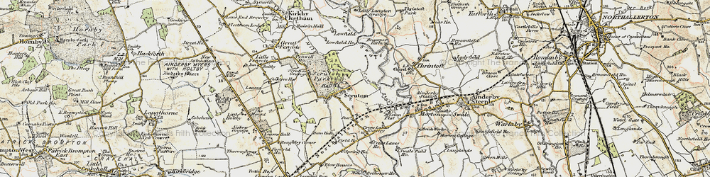 Old map of Scruton in 1904