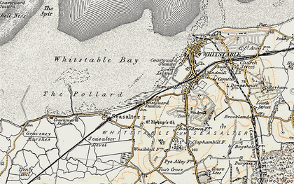 Old map of Whitstable Bay in 1898