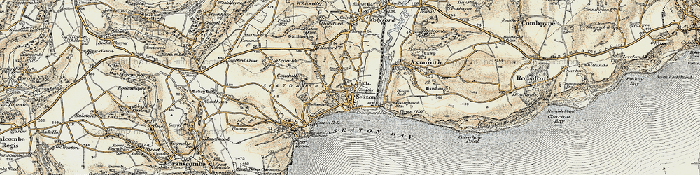 Old map of Seaton in 1899