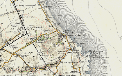 Old map of Seaton Sluice in 1901-1903