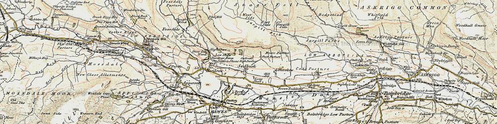 Old map of Sedbusk in 1903-1904
