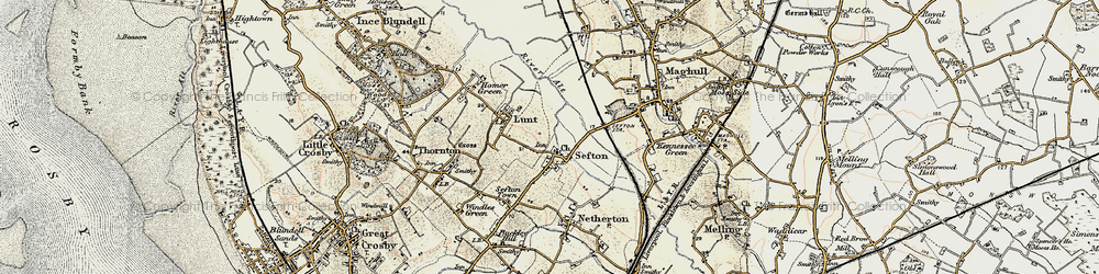 Old map of Sefton in 1902-1903
