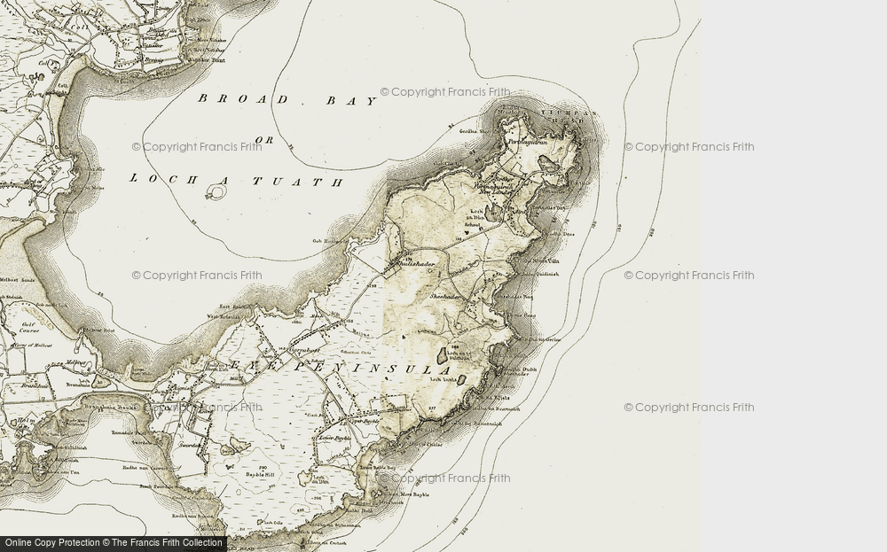 Old Map of Historic Map covering Bàgh Sheiseadair in 1909-1911