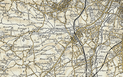 Old map of Selly Oak in 1901-1902