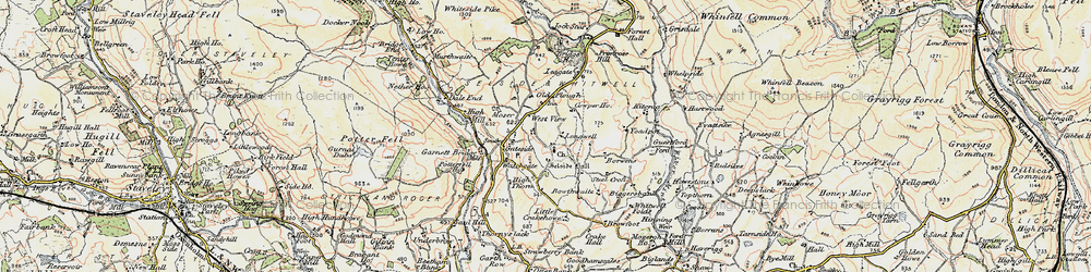 Old map of Whitewell Folds in 1903-1904