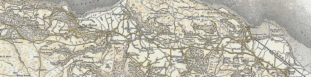 Old map of Selworthy in 1899-1900