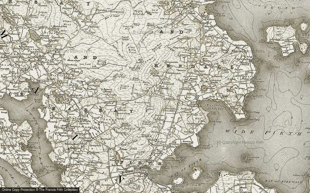 Old Map of Historic Map covering Baillie Hill in 1911-1912