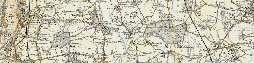 Old map of Severn Stoke in 1899-1901