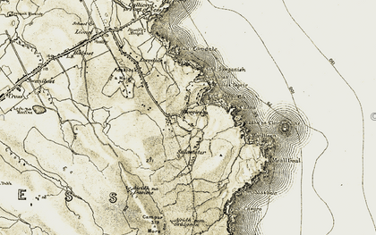 Old map of Abhainn Chaidhsiadair in 1911