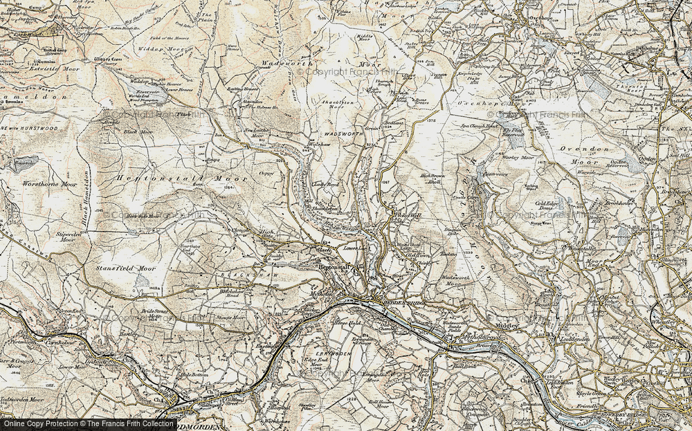 Old Map of Historic Map covering Abel Cross in 1903
