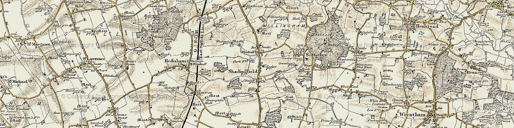 Old map of Titsal Wood in 1901-1902