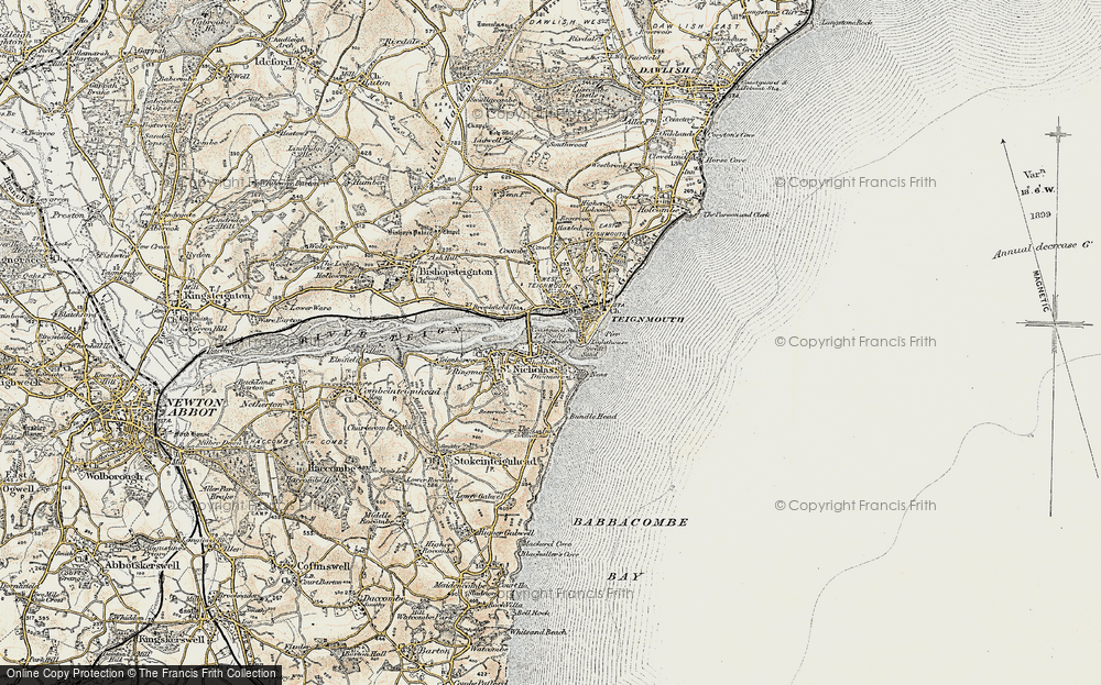 Old Map of Shaldon, 1899 in 1899
