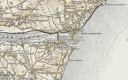 Old map of Shaldon in 1899