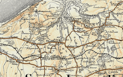 Old map of Shalfleet in 1899-1909