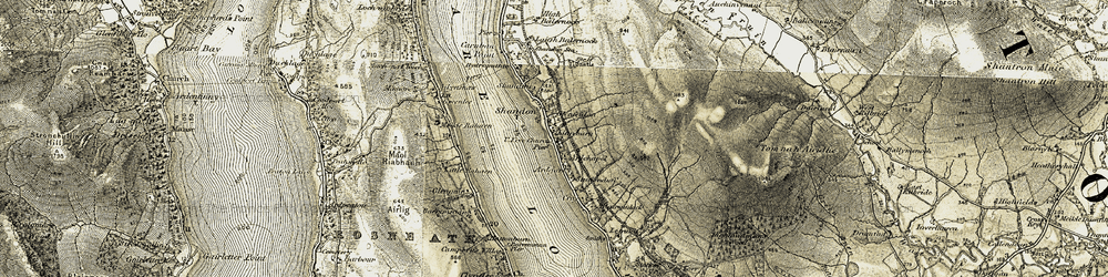 Old map of Shandon in 1905-1907