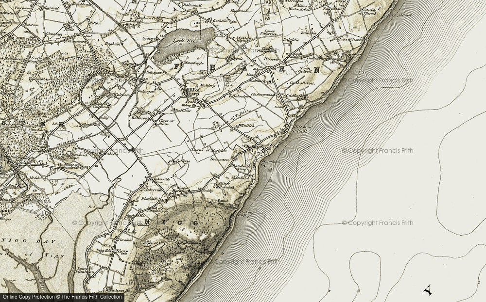 Old Map of Historic Map covering Wester Rarichie in 1911-1912