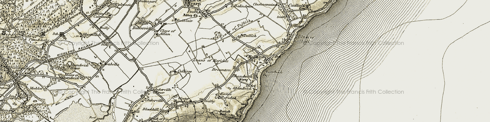 Old map of Wester Rarichie in 1911-1912