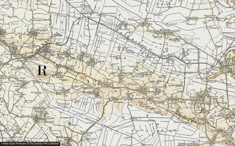 Old Map of Shapwick, 1898-1900 in 1898-1900