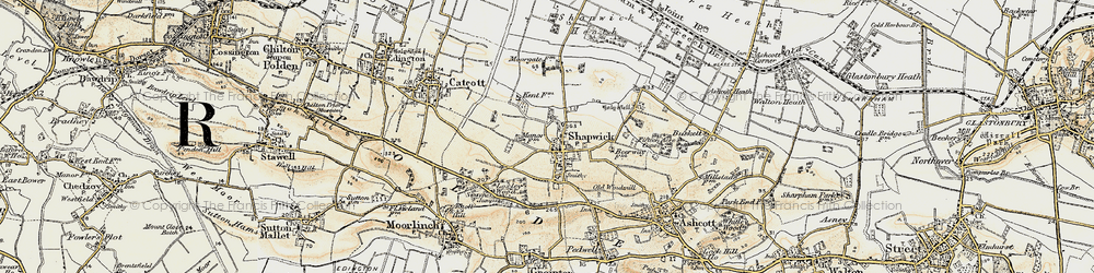 Old map of Shapwick in 1898-1900