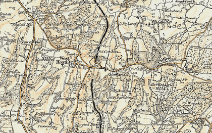Old map of Sharpthorne in 1898