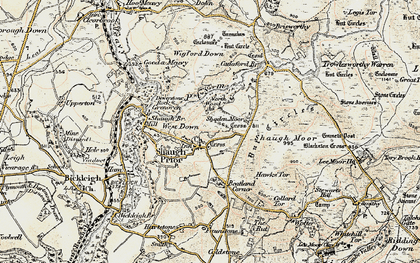 Old map of Wigford Down in 1899-1900