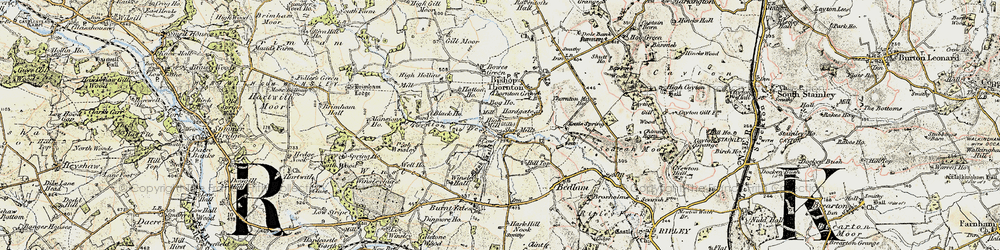 Old map of Shaw Mills in 1903-1904
