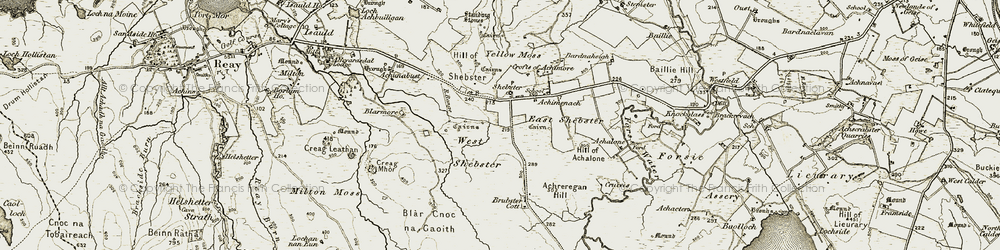 Old map of Achreregan Hill in 1911-1912