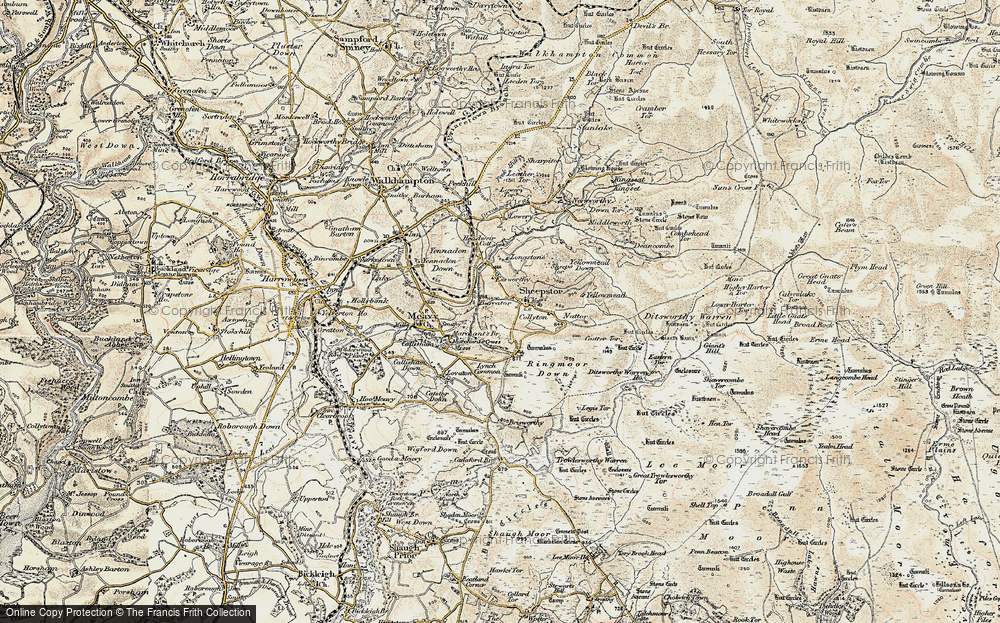 Old Map of Historic Map covering Legis Tor in 1899-1900