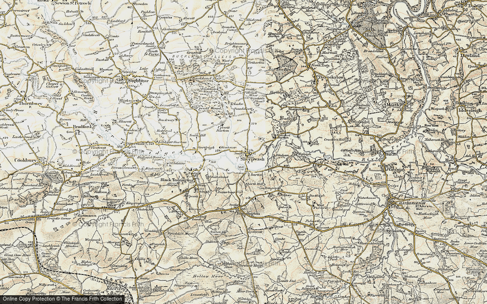 Old Map of Historic Map covering Wooda in 1900