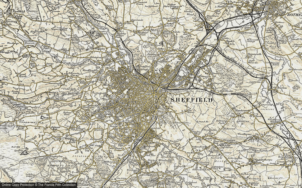 Map of Sheffield 1903 Francis Frith