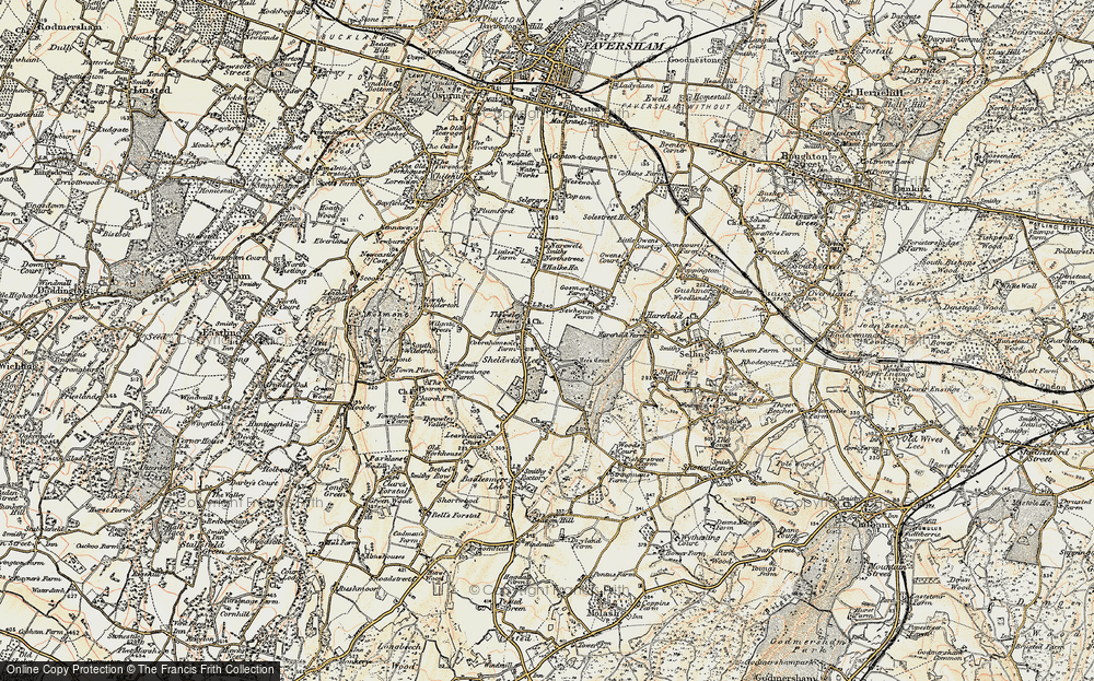 Old Map of Historic Map covering Badlesmere Court in 1897-1898