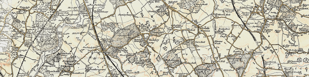 Old map of Shenley in 1897-1898