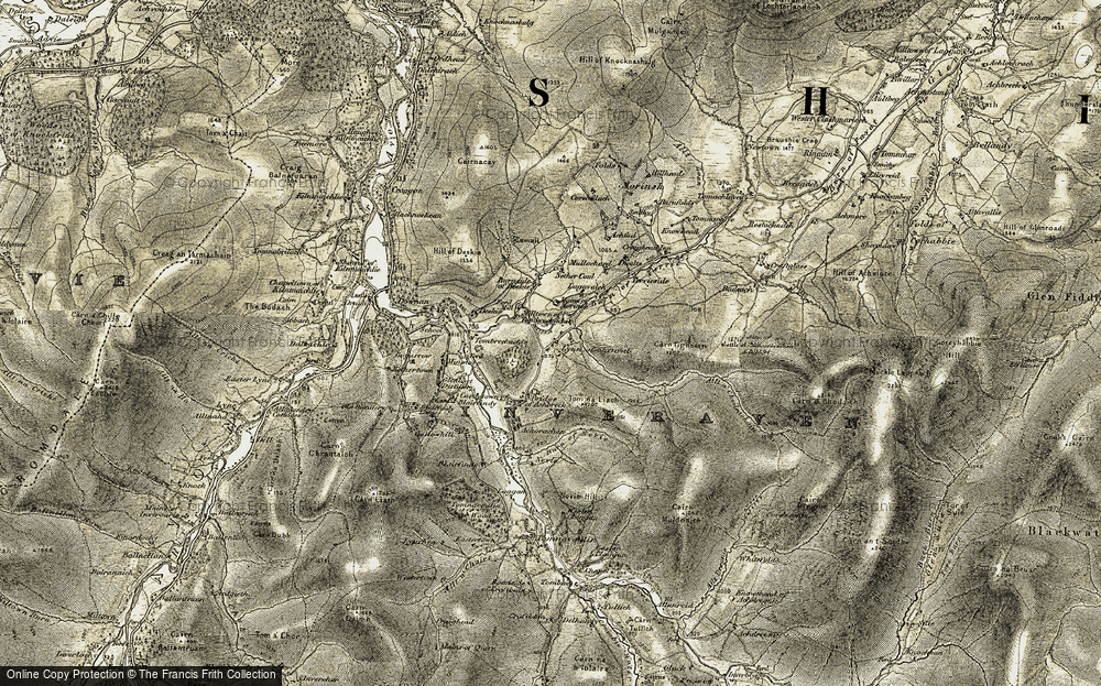 Old Map of Historic Map covering Allt a' Choileachain in 1908-1911
