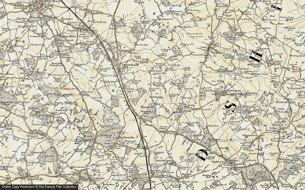 Old Map of Shephall, 1898-1899 in 1898-1899
