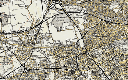 Old map of Wormwood Scrubs in 1897-1909