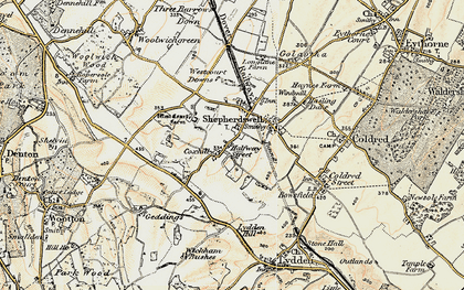 Old map of Shepherdswell in 1898-1899