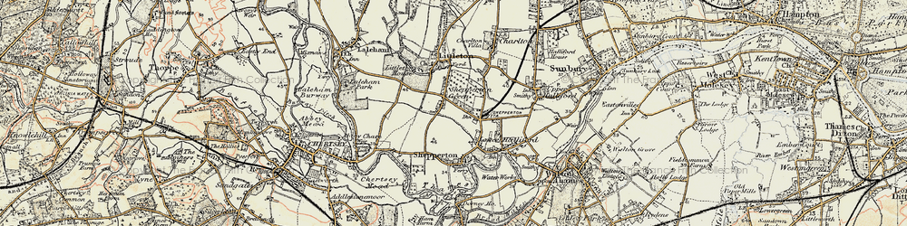 Old map of Shepperton in 1897-1909