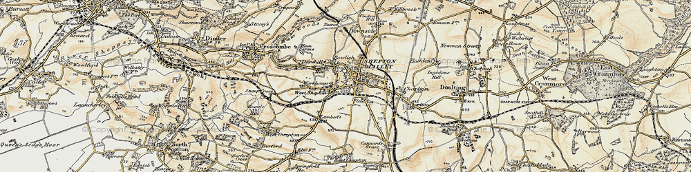 Old map of Shepton Mallet in 1899