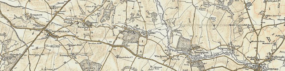 Old map of Sherborne in 1898-1899